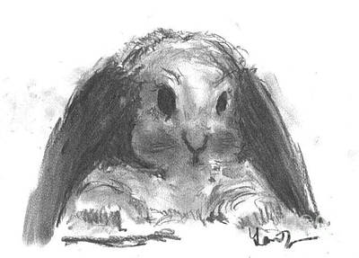 Art Print featuring the drawing My Baby Bunny by Laurie Lundquist
