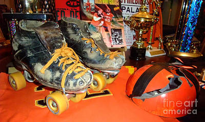 Photograph - My Battle Scarred Roller Derby Skates And Helmet   by Jim Fitzpatrick