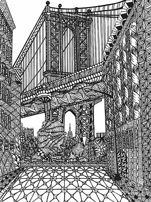 Drawing - My Beloved Mahattan Brige by Dianne Ferrer