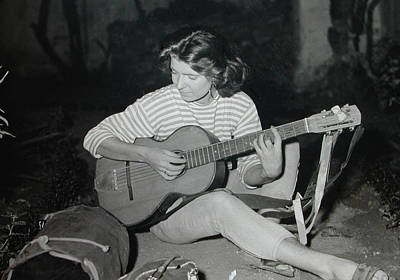 My Beloved Mum Chris On World Travels In The Fifties With Guitar Gitana And Pappa Hans  Print by Colette V Hera  Guggenheim