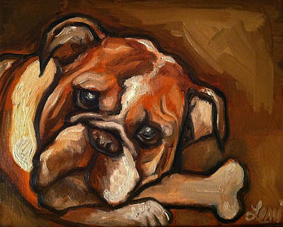 English Bull Dog Painting - My Bone by Leni Tarleton