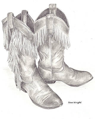 Drawing - My Boots by Nan Wright