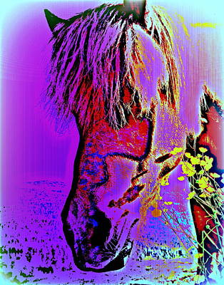My Horse In Purple With Yellow Flowers  Art Print by Hilde Widerberg