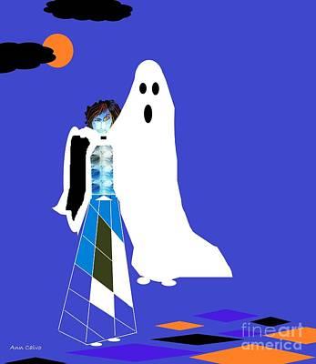 Mixed Media - My Boyfriend The Ghost by Ann Calvo