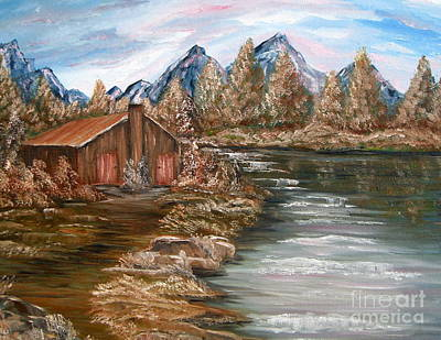 Painting - My Cabin By The Lake by Vivian Cook
