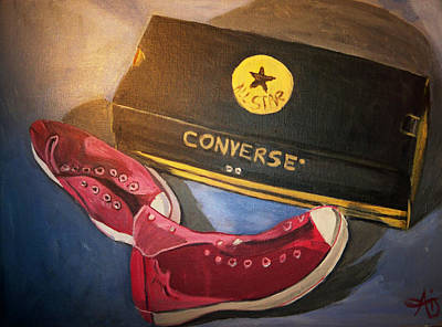 Painting - My Chucks - Pink Converse Chuck Taylor All Star - Still Life Painting - Ai P. Nilson by Ai P Nilson
