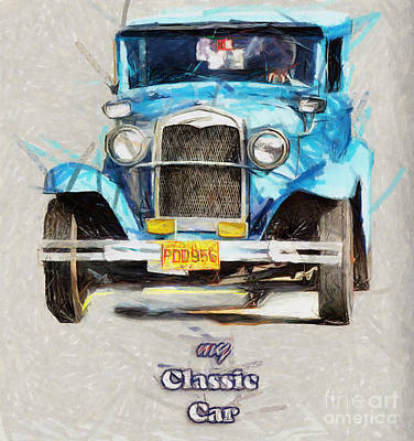 Drawing - My Classic Car - Drawing by Daliana Pacuraru