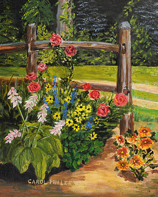 Painting - My Corner Flower Garden by Carol L Miller