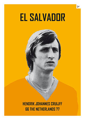 Barcelona Digital Art - My Cruijff Soccer Legend Poster by Chungkong Art