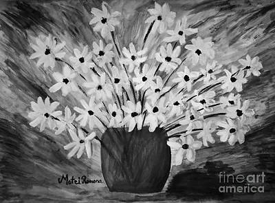 Painting - My Daisies Black And White Version by Ramona Matei