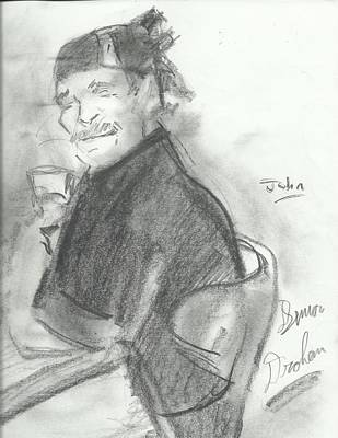 Drawing - My Day With John by Simon Drohen