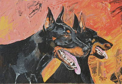 Painting - My Dobermans by Janina  Suuronen