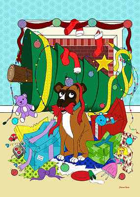 Drawing - My Dog Ate Christmas by Shawna Rowe