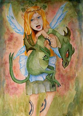 Painting - My Dragon by Carrie Viscome Skinner