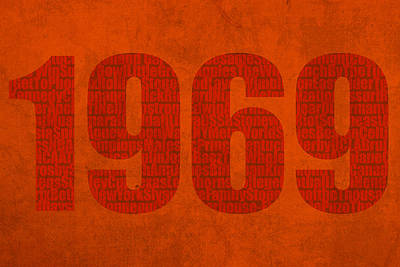 1969 Mixed Media - My Favorite Year 1969 Word Art On Canvas by Design Turnpike