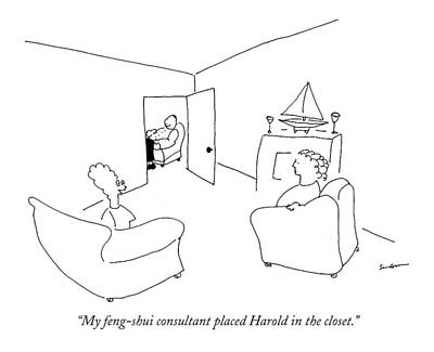 Conversing Drawing - My Feng-shui Consultant Placed Harold by Michael Shaw