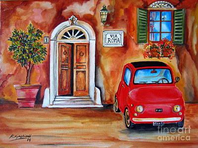 Fiat Car Painting - My Fiat 500 1975 by Roberto Gagliardi