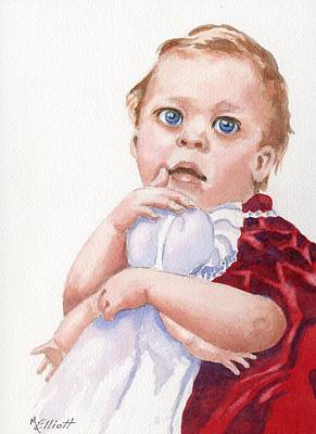 Toddler Portrait Painting - My First Doll by Marsha Elliott