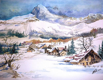 Painting - My First Snow Scene by Alban Dizdari