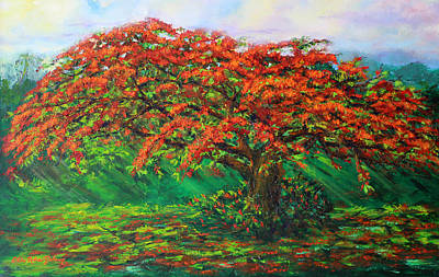 Puerto Rico Painting - My Flamboyant Tree by Estela Robles Galiano