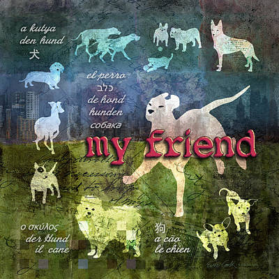 Whippet Digital Art - My Friend Dogs by Evie Cook