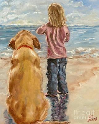 Children And Dog Painting - My Girl by Liz Dettrey