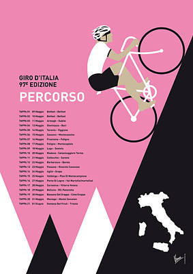 Bicycles Digital Art - My Giro D Italia Minimal Poster 2014-percoso by Chungkong Art