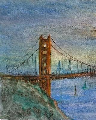 Painting - My Golden Gate Bridge by Anais DelaVega