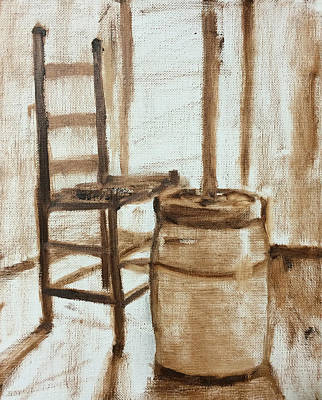 Painting - My Grandmother's Churn Step 1 by Carol Berning
