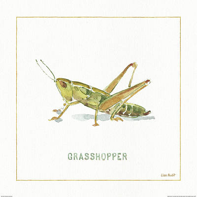 Grasshopper Painting - My Greenhouse Grasshopper by Lisa Audit