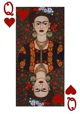 Queen Of Hearts Painting - Frida Kahlo Queen Of Hearts II  by Madalena Lobao-Tello
