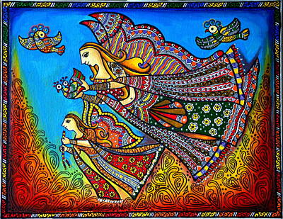 Madhubani Painting - My Guardian Angel by Deepti Mittal