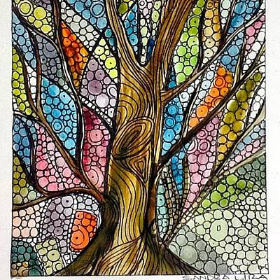 Watercolor Painting - My Happy Watercolor Tree by Sandra Lira