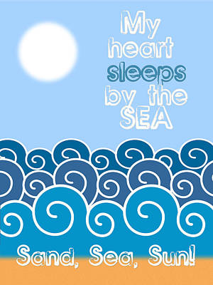 By The Sea Digital Art - My Heart Sleeps By The Sea Minimalist Poster by Celestial Images