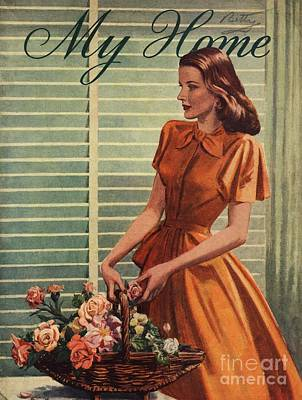 My Home 1940s Uk Womens Flowers Art Print by The Advertising Archives