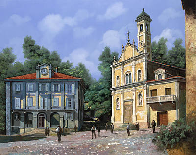 City Hall Painting - My Home Village by Guido Borelli