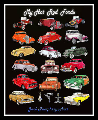 Painting -  Hot Rod Ford Poster by Jack Pumphrey
