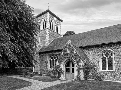 Photograph - My House Is Yours - Ancient Stone Church Black And White by Gill Billington