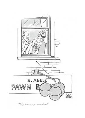 Pawn Drawing - My, How Very Convenient! by George Price