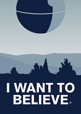 Xwing Digital Art - My I Want To Believe Minimal Poster-deathstar by Chungkong Art