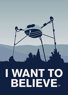 Ufo Digital Art - My I Want To Believe Minimal Poster-war-of-the-worlds by Chungkong Art