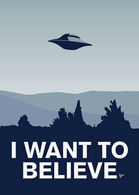 Stars Digital Art - My I Want To Believe Minimal Poster-xfiles by Chungkong Art