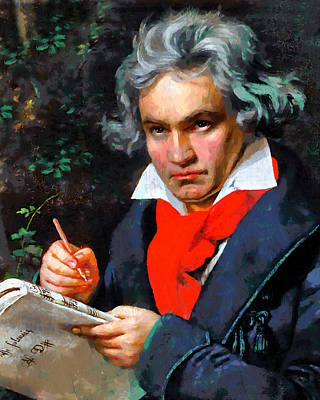 Green Painting - My Immortal Beloved - Beethoven by Georgiana Romanovna