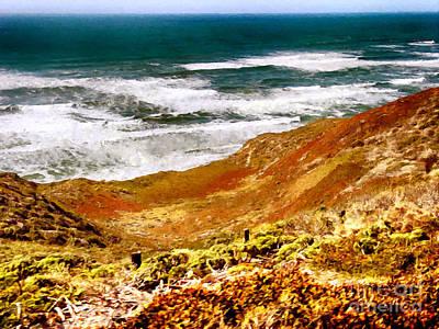 Painting - My Impression Of California Coastline by Bob and Nadine Johnston