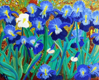My Iris - Inspired  By Vangogh Art Print by Margaret Harmon