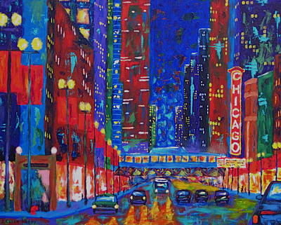 Chicago At Night Painting - My Kind Of Town by J Loren Reedy