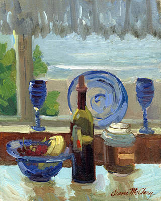 Wine-glass Painting - My Kitchen On Vashon Island by Diane McClary