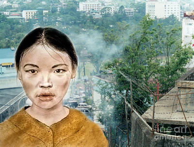 Jim Fitzpatrick Digital Art - My Kuiama A Young Vietnamese Girl Version II by Jim Fitzpatrick