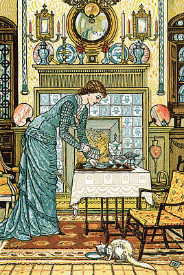 Pouring Painting - My Lady's Chamber by Walter Crane