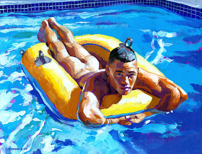Boys Swimming Painting - My Little Boat by Douglas Simonson